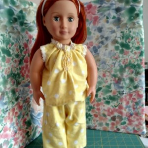 "Custom made flannel AG doll pajamas hand sewn and embellished - 18"" doll clothes - Hand sewn, heirloom quality"