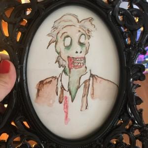 Framed original Zombie Jon II Portrait in watercolor and Marker