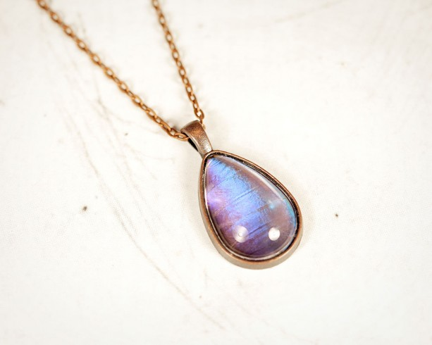 Real Butterfly Wing Necklace - Real Butterfly Jewelry - Lavender Pendant - Purple Pendant - Tear Drop Pendant - Copper - Gift for Her