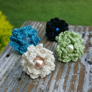Flower Ring - Statement Ring - Black - Crochet - Boho Ring