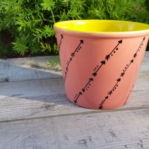 Peachy Pink and Yellow Ceramic Pot with Black Hand-Drawn Design