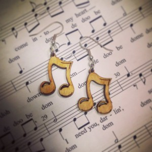 Wooden Music Note Dangle Earrings - FREE US SHIPPING