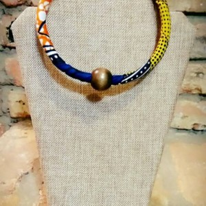 Multicolor Traditional African Ethnic Single Strand Beaded Necklace, African Print Beaded Necklace, Ankara Necklace, Tribal Beaded Necklace