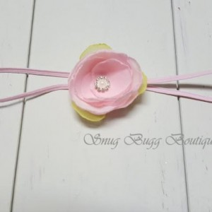 Pink/green chiffon fabric flower headband, Girls Headband