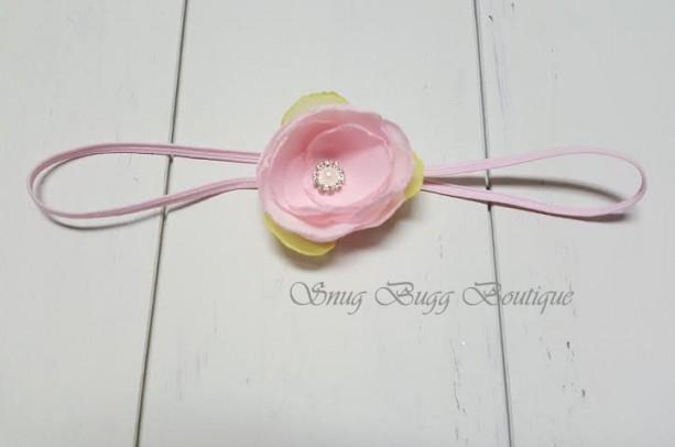 Pink/green chiffon fabric flower headband, Girls Headband