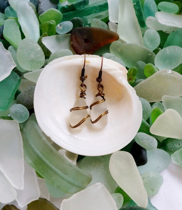 Clear sea glass earrings, frosted sea glass earrings, sea glass jewelry, white sea glass earrings, white sea glass jewelry, gifts for her