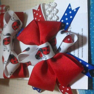 Boutique style girls baby toddler child set of 2 pc's set Ladybug hairbow and headband matching set