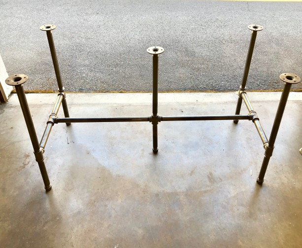 "Black Pipe Table Frame/TABLE LEGS ""DIY"" Parts Kit, 1"" x 94"" long x 28"" wide x 40"" tall  -  Custom sizes available in this style table base"