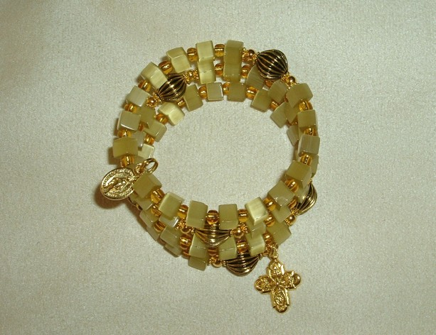 Rosary Bracelet of Greenish Gold Beads, Goldtone Findings