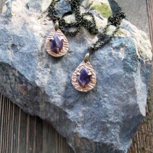 Bronze Metal Clay Pendant Duo With Natural Amethyst
