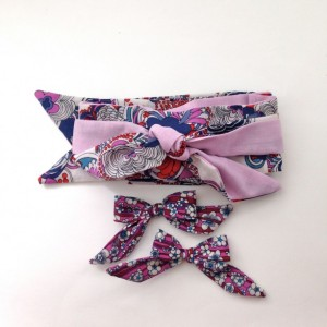 Reversible hair scarf, hair scarves, floral headband, Liberty of London bows, head wraps for women, turban headband, Purple headband