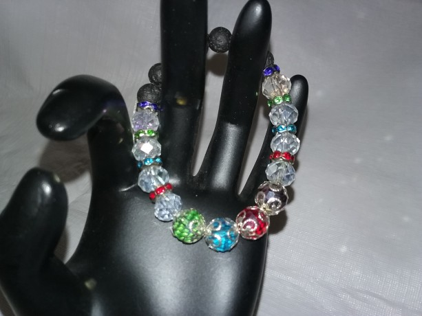Colorful Crystal & Silver Beaded Diffuser Bracelet w/Lava Stone