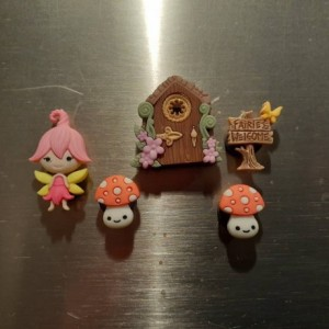 Magnets, 5 Strong Refrigerator Magnets, Cubicle Decor, Locker Magnets, Office Supply,Fairy,Garden,Mushroom