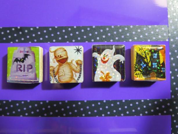 Set of 4 Scrabble® Game Tile Magnets Halloween D Sparkly
