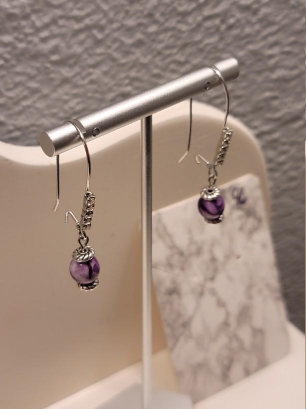Purple bead kidney earrings