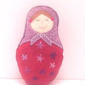 Babushka Russian Felt Doll Natural Play Toys Decor