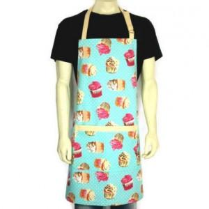 Cupcake Apron , Aqua / Light Blue , Cotton Duck , Adjustable with Pocket / Bakery Decor