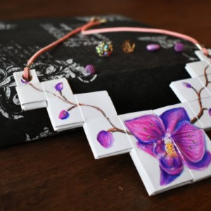 Paper Handmade Orchid Flower Handpainted Origami Necklace. Pink Purple.  Swarovski Crystals.