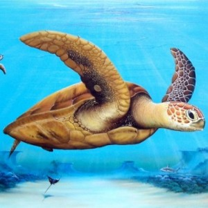 Sea Turtles over reef original painting