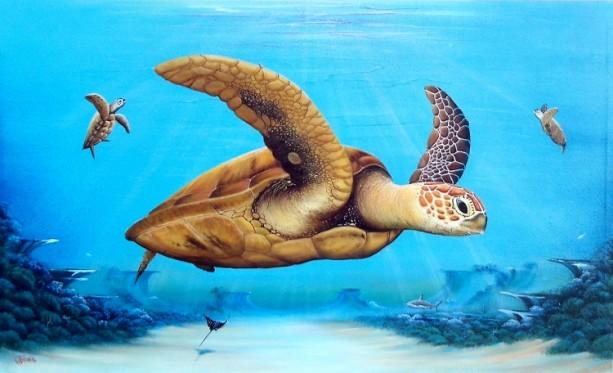 Sea Turtles over reef original painting