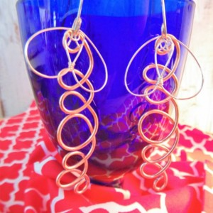 Drop Earrings, Natural Copper and Sterling Silver