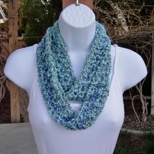 Small Summer Infinity SCARF, Light Blue, Dark Blue, Light Gray Grey, Soft Crochet Knit, Skinny Narrow Lightweight Cowl, Ready to Ship in 2 Days