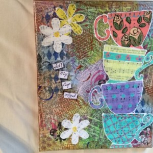 Mixed media fill my cup tea cups