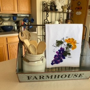 Purple grapes kitchen decor, flour sack dish towel, mom gift for her, bathroom hand towel,mother's day from daughter, hostess gift, best