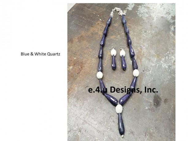 Blue and White Y necklace