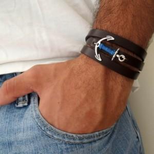 Men Anchor Bracelet - Men Leather Bracelet - Men Bracelet - Men Jewelry - Men Gift - Husband Gift - Boyfriend Gift - Present For Men - Male
