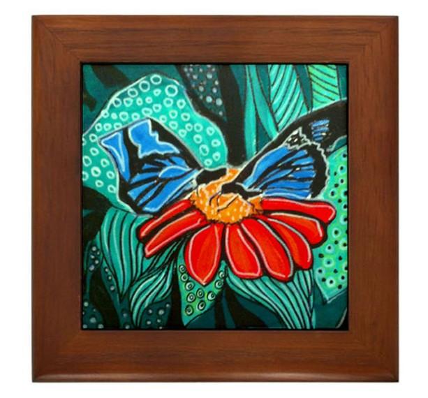 Mexican Folk Art- Blue Butterflies - FRAMED TILE By Artist A.V.Aposte