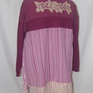 plus size tunic purple 2X 3X restyled eco clothing altered refashioned upcycled boho indie romantic lagenlook trendy unique edgy