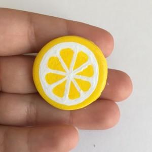 Handmade Brooch Lemon Pin Fruit Slice Clay Jewelry Artisan Accessory