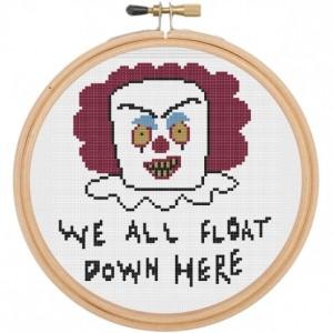 Pennywise IT Scary Clown Illustration Horror Cross Stitch DIY Kit Intermediate