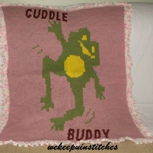 knitted frog blanket