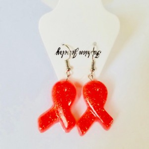 Breast cancer awarness pink ribbons earrings and necklace