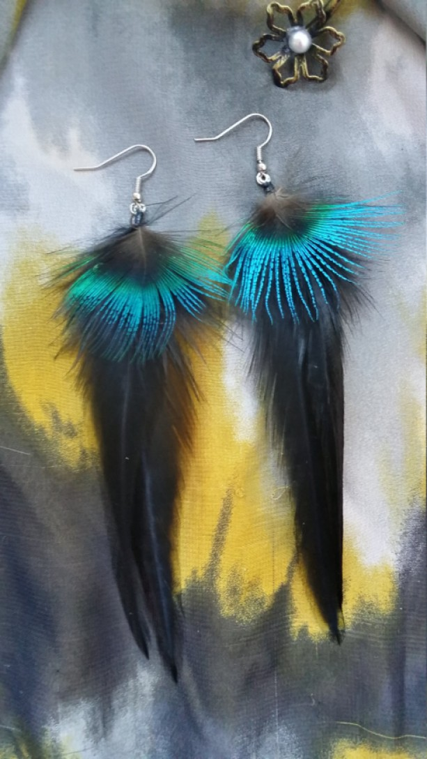 Black Feather Earrings with Peacock Accent Feather _ Iridescent Peacock Feather Earrings