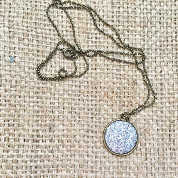 Faux Druzy Necklace, Druzy Charm Necklace, Gemstone Necklace, Round Druzy Necklace, Large Druzy Necklace, Bronze Druzy Jewelry, 25 mm Druzy