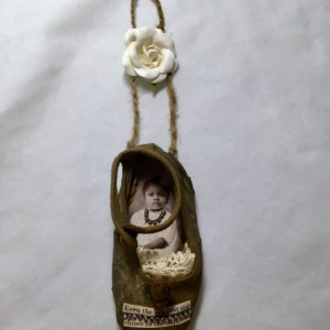 Sweet Antique Altered Baby Shoe Inspirational Quote