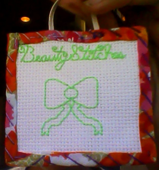 BeautyStitches Coaster Designs: Bow (bordered)