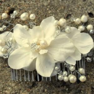 Bridal Hair Comb, Wedding Comb, Decorative Comb, Floral Wedding Comb, Champagne Comb, Peach, Ivory, Swarovski Crystals, Pearls, Crystal Comb
