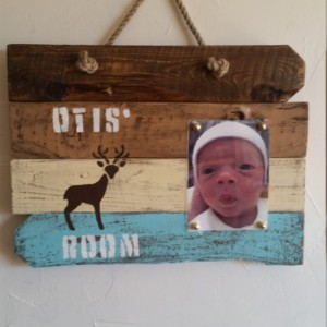Rustic, handmade, wooden picture frame for boys
