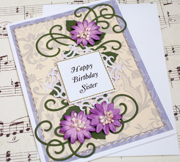 Sister Birthday Card In Law Handmade Floral
