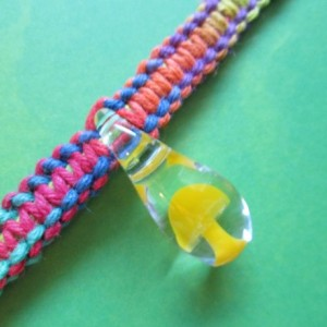 Handmade Rainbow Hemp Choker Style Necklace with Awesome Hand Blown Glass Yellow Mushroom Pendant- Trippy Hemp Necklace