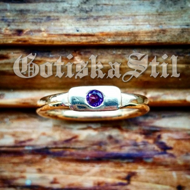 Primeval Brass Stacking Band with Amethyst