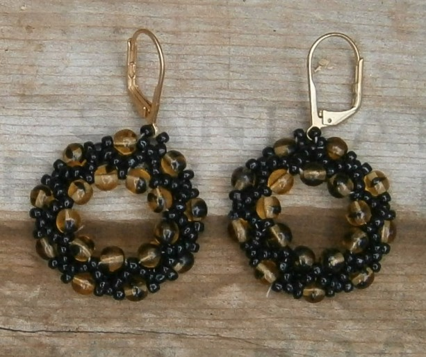 Black and amber beaded hoop earrings