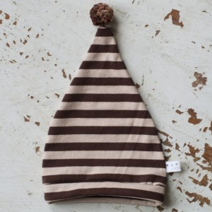 0-3 mo Elf - Hobbit - Gnome - Dwarf Hat with PomPom Tail. Newborn hat in brown and beige striped cotton fabric.