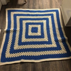 Large blue and cream colored baby/toddler/preschool blanket