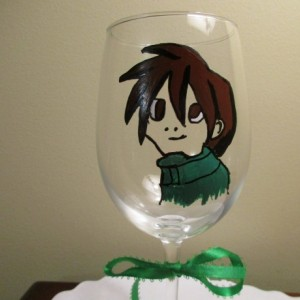 Painted Wine Glass Anime Boy 12 oz. Manga