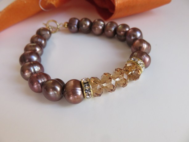 "Chocolate Pearls & ""Topaz"" Bracelet"